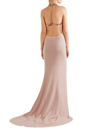 ee3b99c28b9a STELLA McCARTNEY Chain-embellished stretch-crepe halterneck gown ...