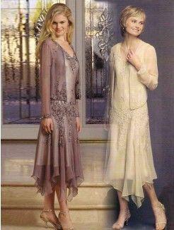 A-line/Princess V-neck Tea-length Chiffon Mother of the Bride/Groom Dress With Applique