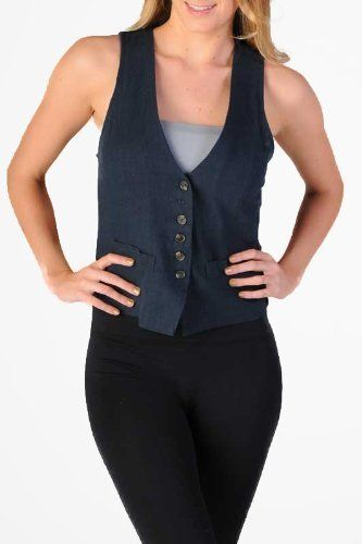 Women's buttoned vest with a mini belted cinched back (8484, Navy, S) Tops and Bottoms HS. $25.00