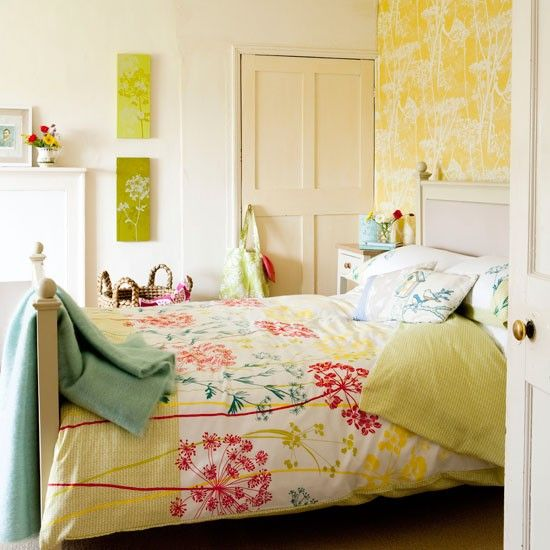 Bright yellow floral bedroom