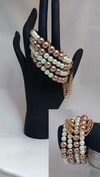 pearls and chain on memory wire