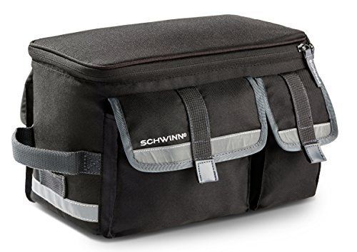 Product review for Schwinn Rack Top Bag with Reflective Strip - The Schwinn rack top bag is designed to rest on top of any type of rear rack that you may have purchased for your bike or the rack the bike may have come with, the bag is attached with Velcro straps for a quick and secure attachment. The bag is made of weather resistant materials to provide...