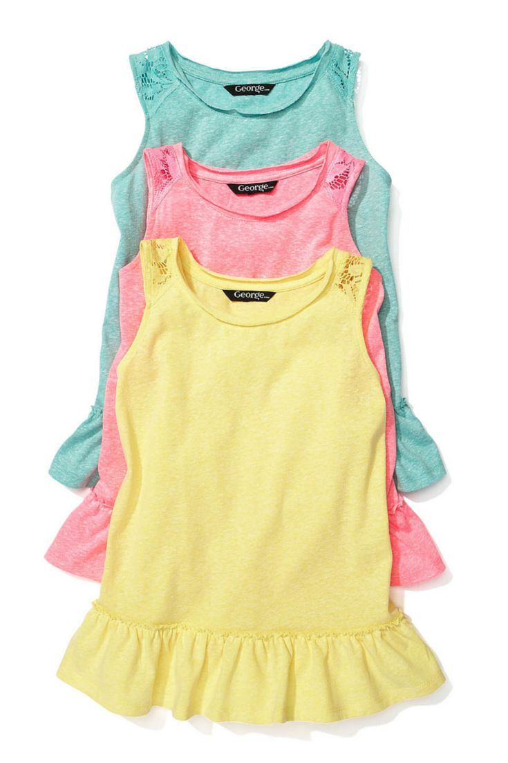 Classic tanks in shades of pink, lemon and turquoise. #looksforless #tanktops #kidsfashion #girlsfashion #summerfashion