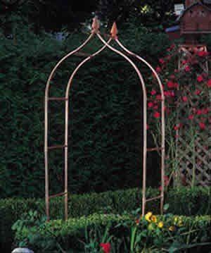 Garden Ventures Sissinghurst Single Arbor by Garden Ventures. $477.00. This lushly covered Sissinghurst Single Arbor will frame a garden entrance, establish a traditional border, shade a gateway or define an entrance to a private and secluded area. These beautiful garden accessories are made from maintenance-free, long-lasting copper tube, some with hand-turned wood finials. All will quickly weather to a warm brown tone and eventually to a rich green patina. The Arbor...