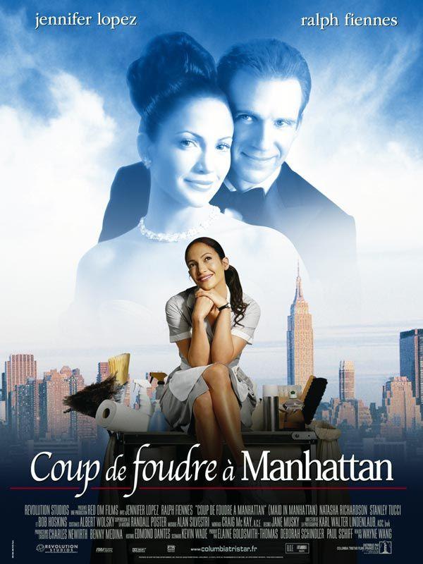 Coup de foudre à Manhattan est un film de Wayne Wang avec Jennifer Lopez, Ralph Fiennes. Synopsis : Marisa Ventura est une mère célibataire qui vit seule avec son fils Ty dans le Bronx. Elle travaille comme gouvernante dans l'un des palaces les plus