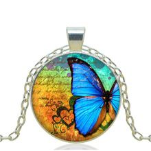 1pcs/lot 2015 Fashion Blue Butterfly Specimens Logo Pendant Necklace Art Vintage Chain Choker Statement Necklace Gifts For Girl (China (Mainland))