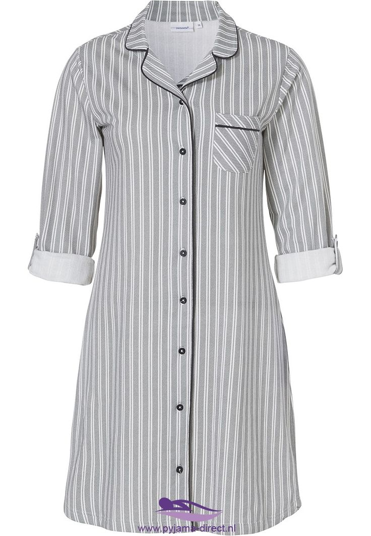 Pastunette 'simply stripes', warm, thick french terry cotton nightdress with full buttons and handy turn-up sleeves