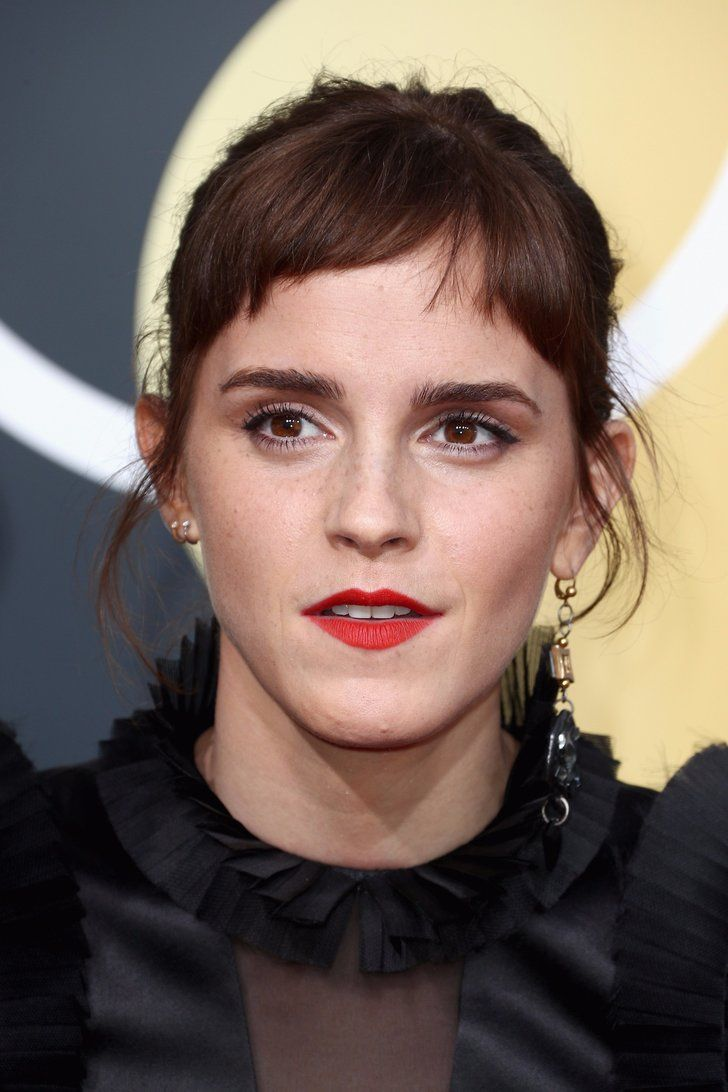 Emma Watson Brought Her Brand-New Baby Bangs to the 2018 Golden Globes