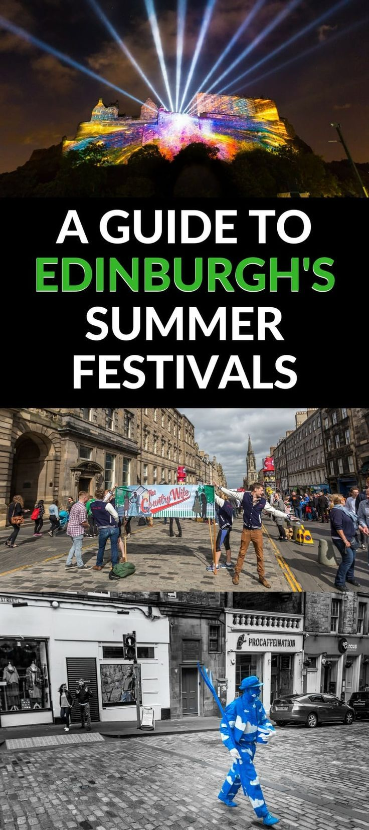 A complete guide to the Edinburgh Festivals in summer from two locals. Six festivals, including Edinburgh Fringe and the Royal Edinburgh Military Tattoo, take place each year in August and this guide will help you find out what is happening, tips for making the most of your time, and give you planning advice to navigate this festive but busy time in Edinburgh Scotland!
