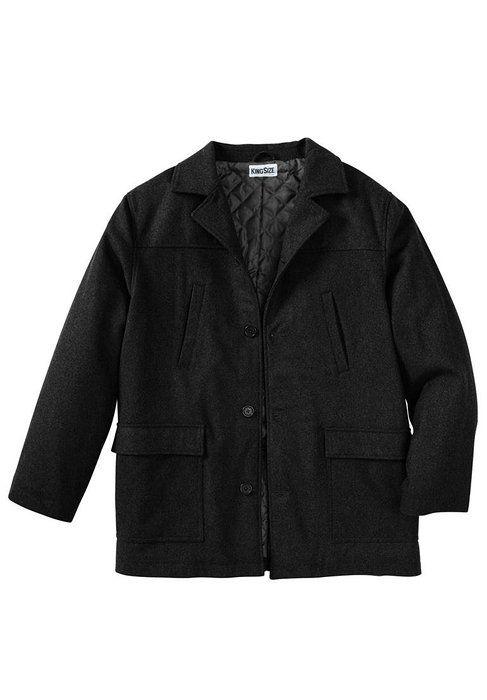 Kingsize Men's Big & Tall Four-Button Car Coat, Black