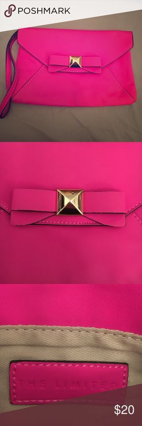 Hot Pink Bow Clutch Hot Pink Bow Clutch with Gold Bow. Never used. The Limited Bags Clutches & Wristlets