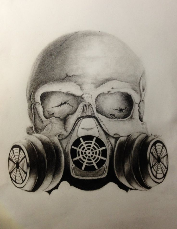 Images For > Skull Gas Mask Drawings