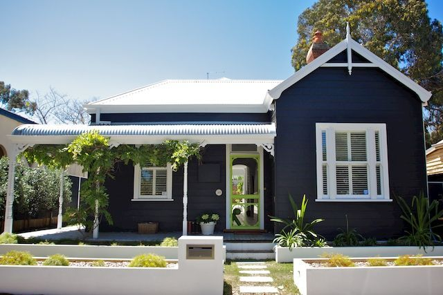 dark blue weatherboard house - Google Search