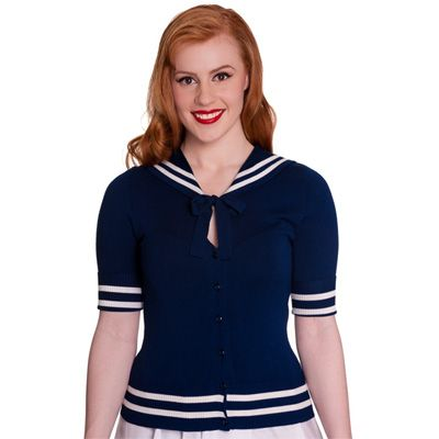 Alexa cardigan navy blauw - Sailor, matrozen stijl, vintage, 50's, rockabilly