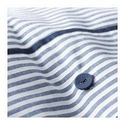 NYPONROS Duvet cover and pillowcase(s), white/blue - white/blue - King - IKEA