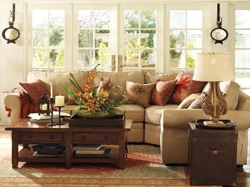 Love the warm color palette! Light colored walls and lots of windows keep it light and airy.  Benchwright Coffee Table in Rustic Mahogany ... Benjamin Moore™ Paint Color AF-20 mascarpone
