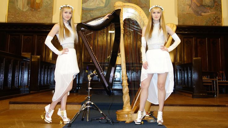 WHITE WEDDING (Billy Idol) Harp Twins - Camille and Kennerly - YouTube
