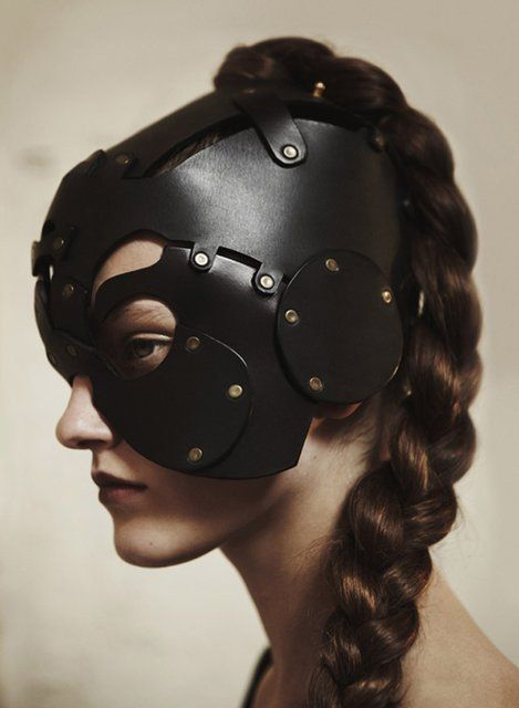 Fancy - The Cyclops Apprentice Leather MaskInspiration, Warriors Princesses, Black Leather, Helmets, Leather Masks, Marina Gonzalez, Gabriella Marina, Gears, Style Fashion