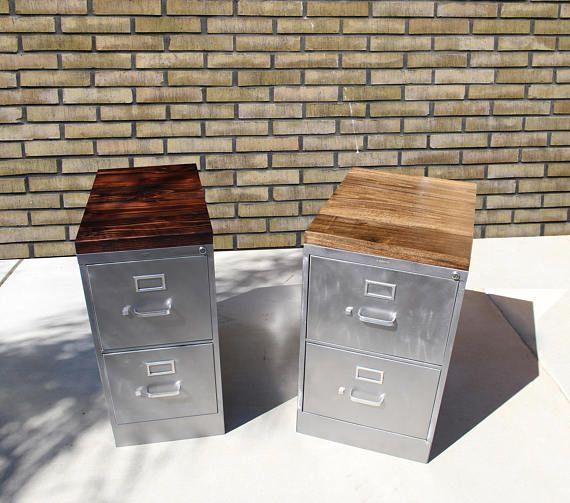 Refinished 2 Drawer Letter Size Metal Filing Cabinet W Wood Etsy Filing Cabinet Metal Filing Cabinet Rustic Furniture