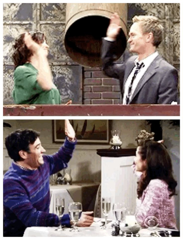 barney and robin    ted and tracy   high five and kiss