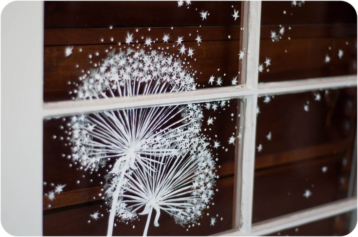 Hung on a blue wall. Whimsical Window Painting Dandelion Dust by audreygracephoto