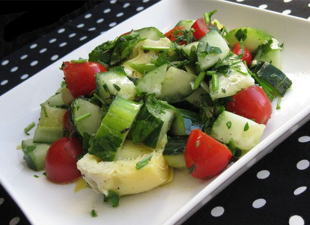 """Cucumber, Tomato, & Artichoke Salad 