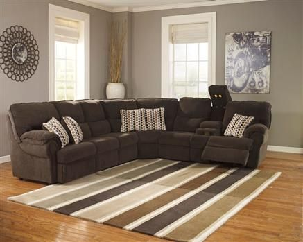 Comfort Commandor Chocolate Sectional W/RAF Console Loveseat. Brown  SectionalSleeper SectionalLiving Room ...