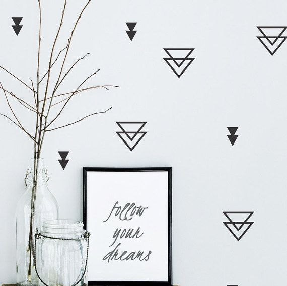 Triangle wall stickers nursery, Baby nursery geometric triangle vinyl wall decals  #027