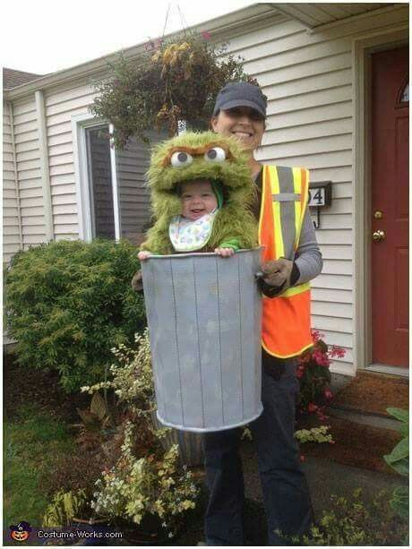 OSCAR THE GROUCH BABY COSTUME  http://www.craftymorning.com/halloween-baby-carrier-costumes/