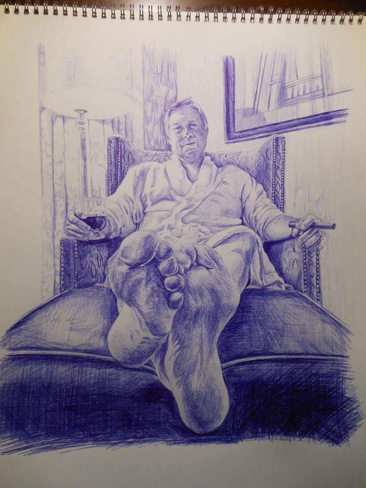 "foreshortening - Blue ballpoint pen drawing by Joanna Mann; ""Jerry ..."