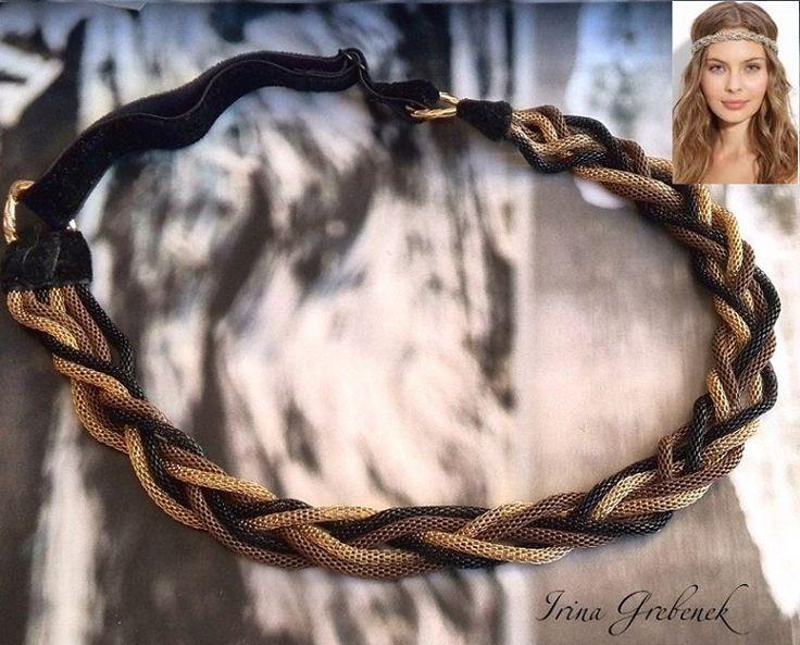 34 отметок «Нравится», 2 комментариев — Гребенек Ирина (@irinagrebenek) в Instagram: «Повязка для волос Металлические ажурные цепи, бархатная эластичная лента, ширина 1,5 см. Размер…»