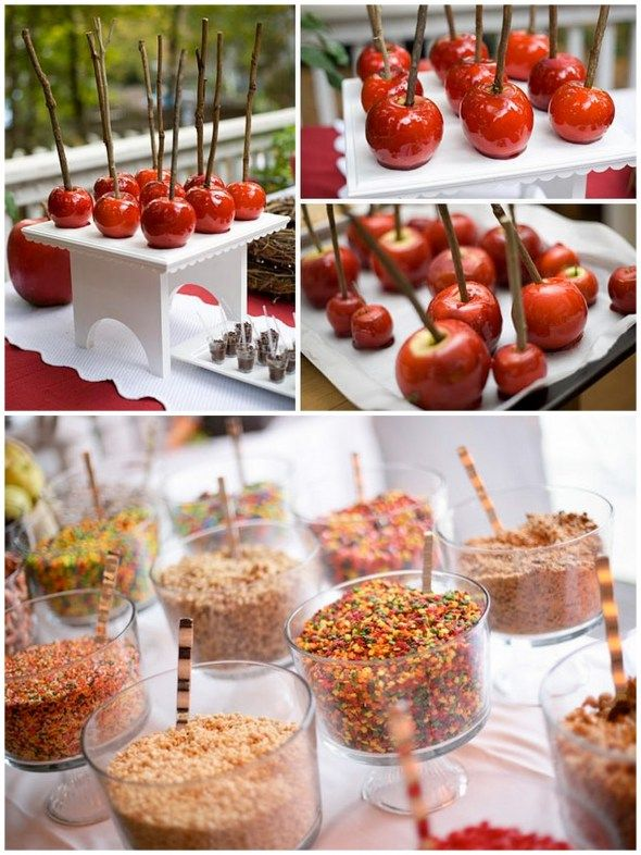 "make your own caramel apple ""bar"" - would be perfect for a Fall wedding"