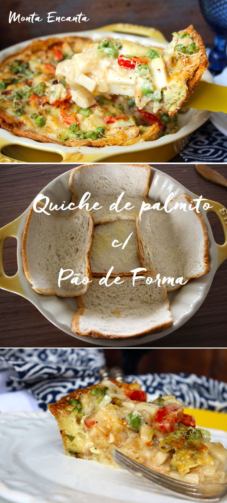Quiche de palmito com Pào de Forma, A massa é feita com fatias de pão de forma e fica super crocante. O recheio é  de palmito, ervilhas frescas e tomatinho sweet, mas é só palpite, o conteúdo fica ao gosto do freguês. Para montar, é só amassar as fatias de pão, deixando-as mais finas,  passar manteiga, forrar o fundo de uma assadeira, rechear com o palmitos picados,   béchamel e finalizar com ovos batidos típicos de uma quiche ... e Bom Apetie