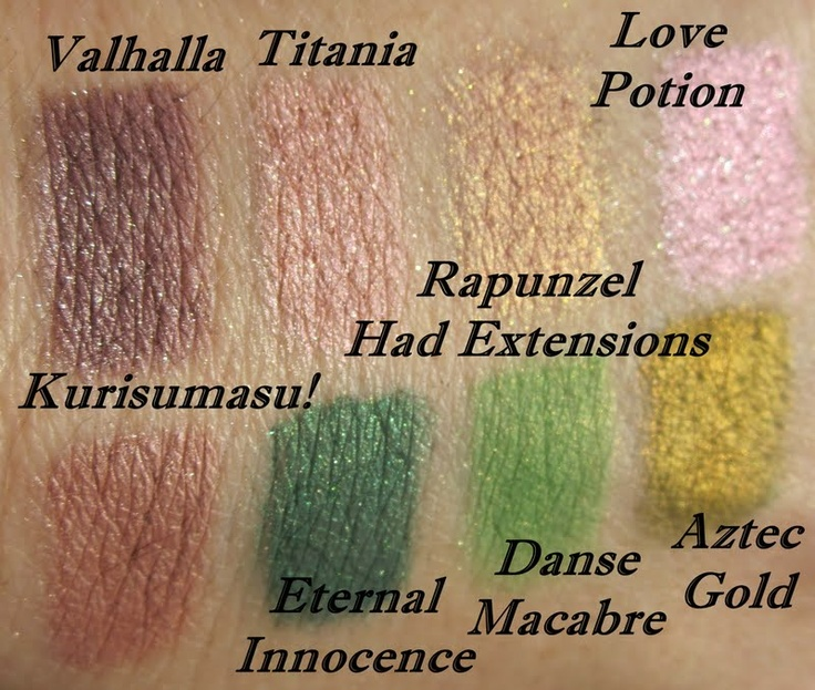 Valhalla, Titania, Rapunzel Had Extensions, Love Potion, Kurisumasu!, Eternal Innocence, Danse Macabre, Aztec Gold (on top of Nyx Eyeshadow Base in White)