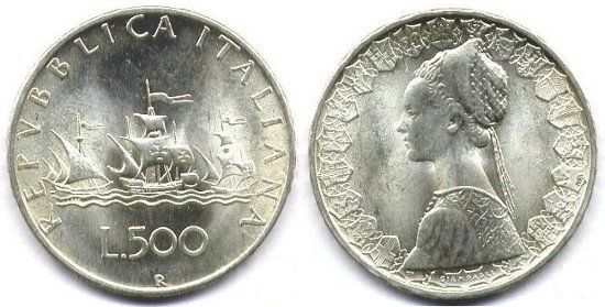 500 Lire Argento - caravelle