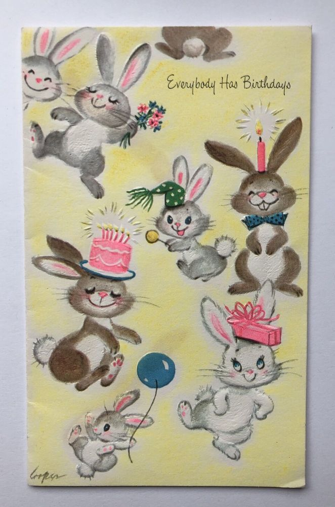 Vintage Marjorie Cooper Gibson Birthday Card Cute Bunny Rabbit Pink Cake Balloon