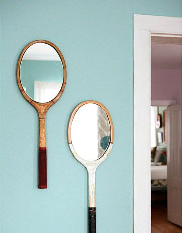 DIY Tennis Racket Mirror by countryliving. Now I have to pry mom's old tennis rackets from her hoardy hands!