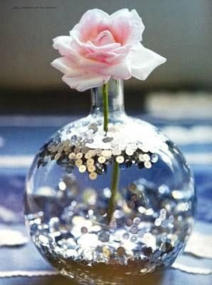 Sequins… in water. Budget-friendly centerpiece idea | by Holly Becker