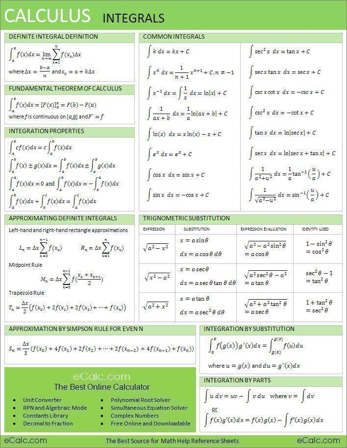 RS Calculus Integrals #calculus | Calculus 1 | Math ...