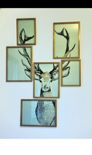 Cool idea. Cut up a large print into a bunch of small frames and arrange to create the picture again.