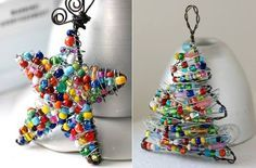 DIY Christmas Ornaments Using Wire and Colorful Beads - Find Fun Art Projects to Do at Home and Arts and Crafts Ideas