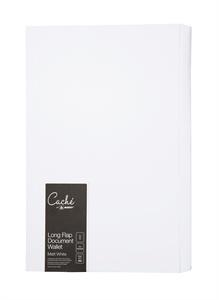 Cache Document Wallet Long Flap Wallet . FSC. 300 GSM White Matt Pack 5
