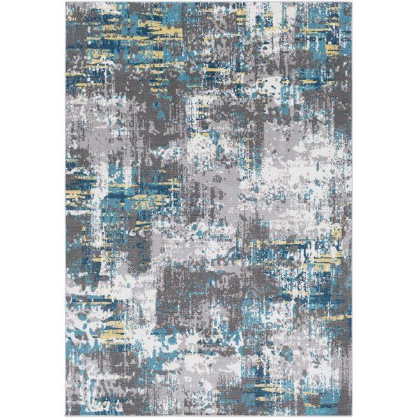 Azurine Distressed Abstract Teal Gray Area Rug With Images