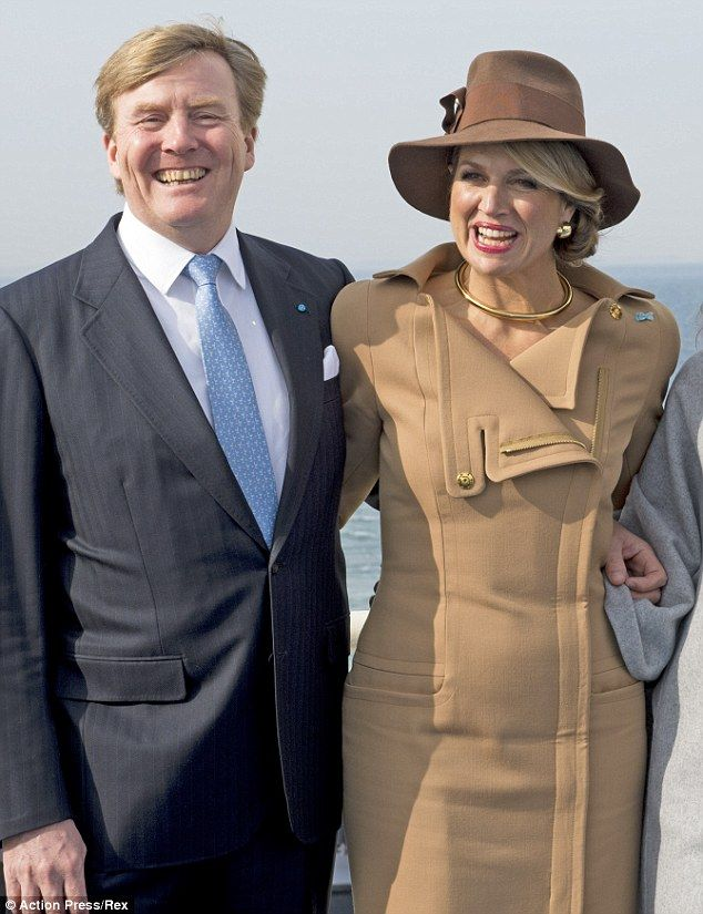 Enjoying their visit: Maxima and Willem-Alexander appeared to be enjoying their visit to D...