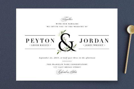 """Adorned Ampersand"" - Rustic, Floral & Botanical Wedding Invitations in Cotton by Jennifer Postorino."