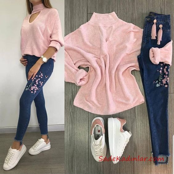 2019 Sport Shoes Combined Navy Blue Skinny Embroideried Jeans Pants Pink Turtleneck Sweater White Sport Shoes