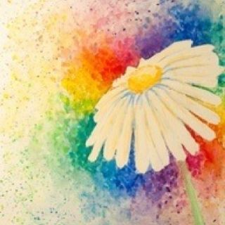 Watercolor tattoo idea- rainbow colors in background...: