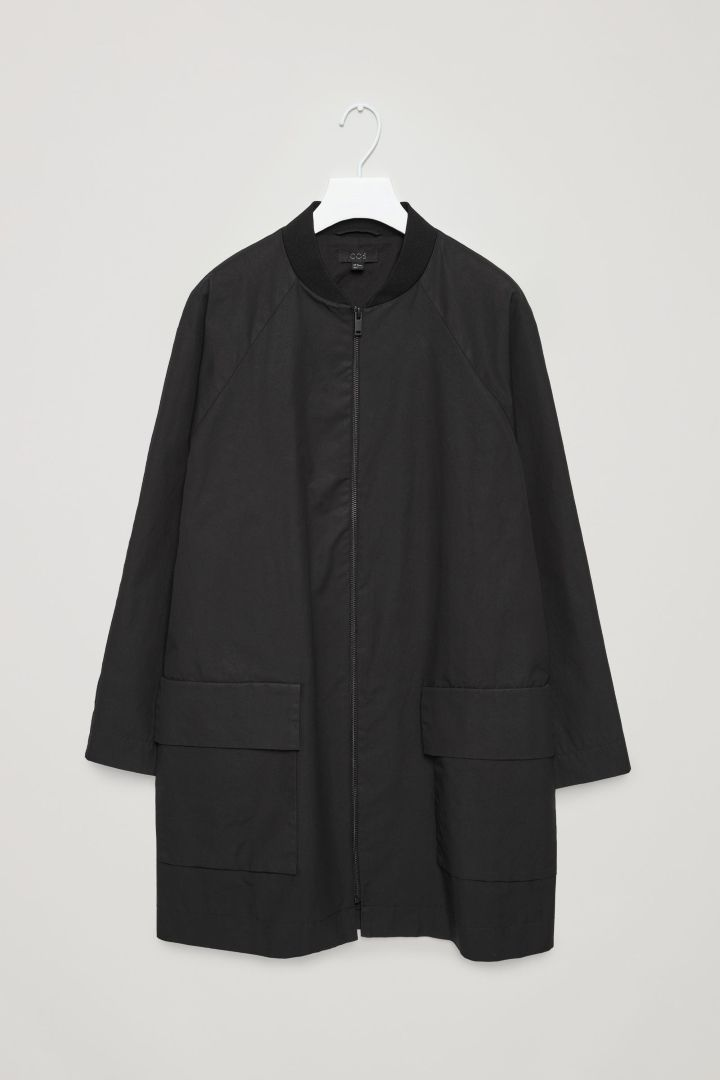 COS image 4 of Coat with ribbed neckline in Black