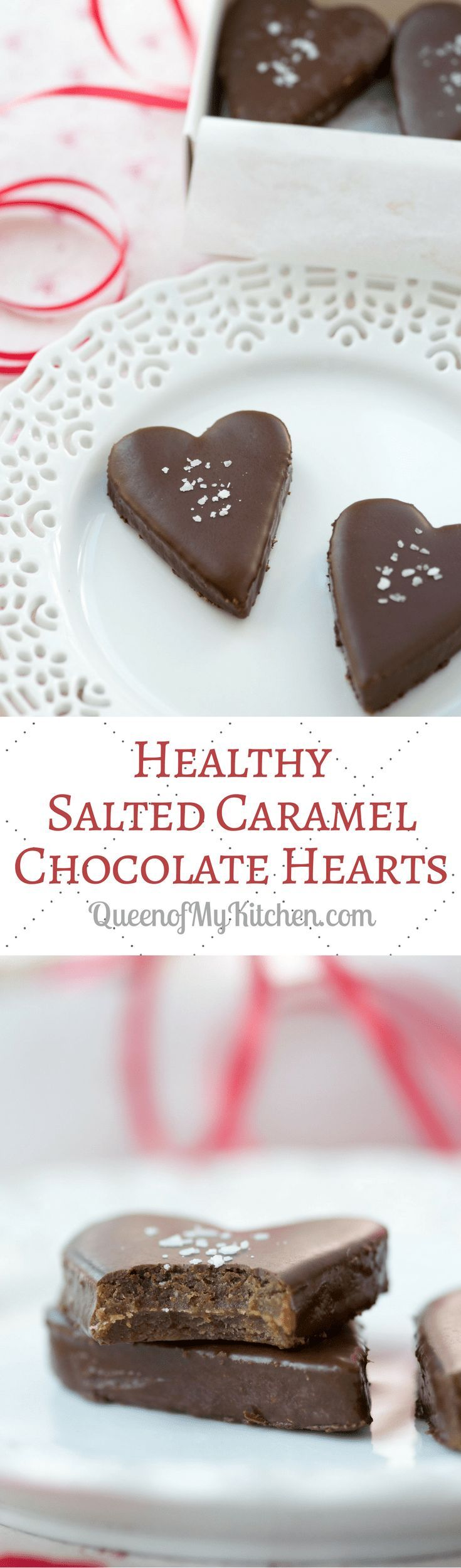 Healthy Salted Caramel Chocolate Hearts. Healthy candy to make for your Valentine! The mock caramel filling is free of refined sugar. | QueenofMyKitchen.com