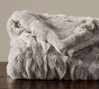 """Ruched Faux Fur Oversized Throw, 60x80"""", Gray"""